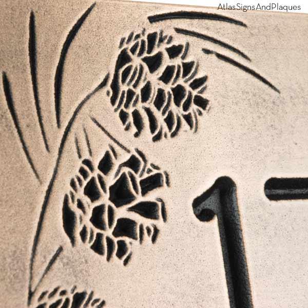 Pine Cone Address Plaque - Recessed Bronze Detail