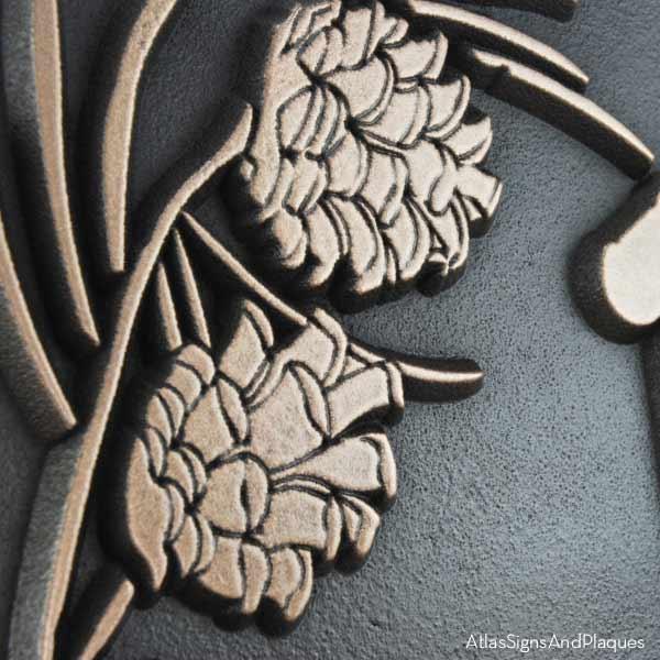 Pine Cone Address Plaque - Raised Bronze Detail