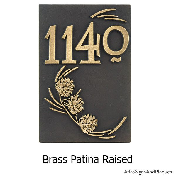 Lumos Vertical Pine Cone Address - Brass