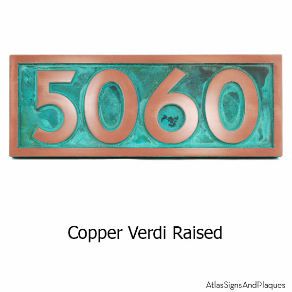 Pleione Address Plaque - Copper Verdi