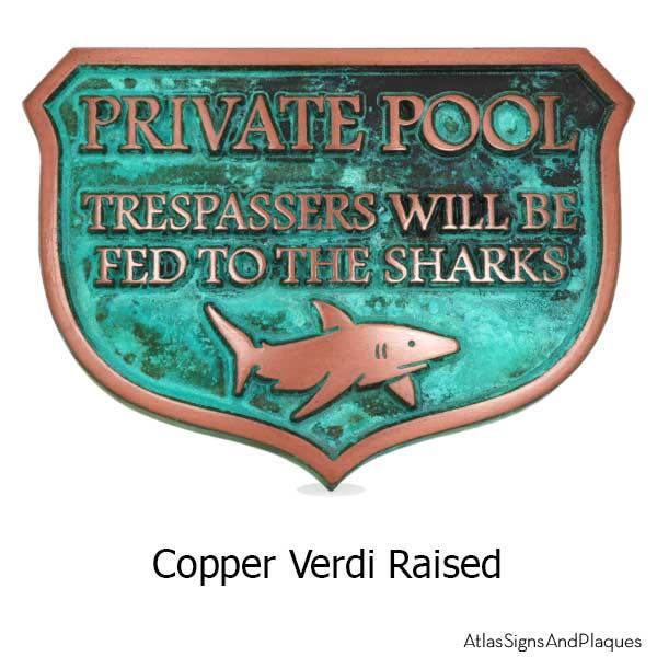 Private Dock Funny No Trespassing Marina Sign - Copper Verdi