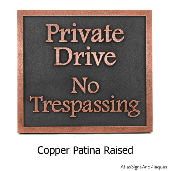 Private Drive Plaque - Copper
