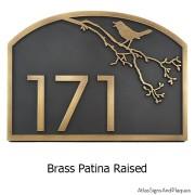 Song Bird Address Plaque - Brass
