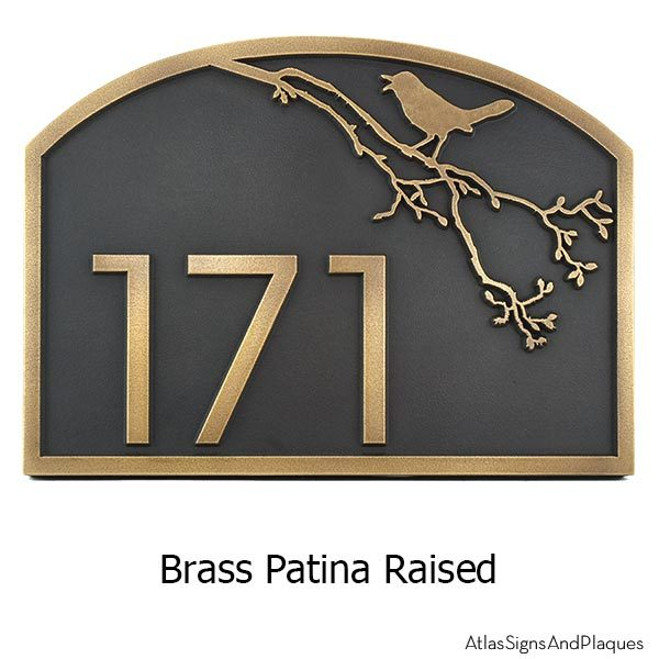 Song Bird Address Plaque - Brass