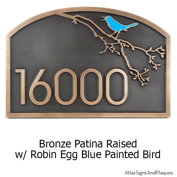 Song Bird Address Plaque - Bronze with Painted Bird Option