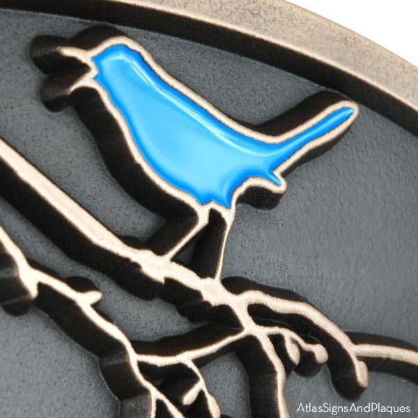 Song Bird Address Plaque - Bronze with Painted Bird Detail