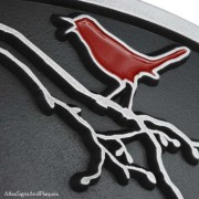 Song Bird Address Plaque - Pewter with Painted Bird Detail