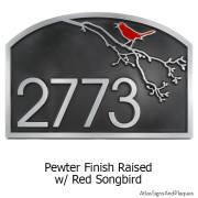 Song Bird Address Plaque - Pewter with Painted Bird Option