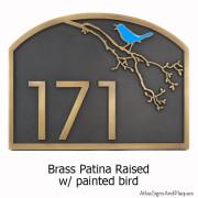 Song Bird Address Plaque - Brass with Painted Bird Option