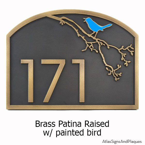 Song Bird Address Plaque - Brass with Painted Bird Option
