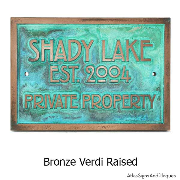 Stickley Phrase Plaque - Bronze Verdi Shown with optional holes for T30 Screws