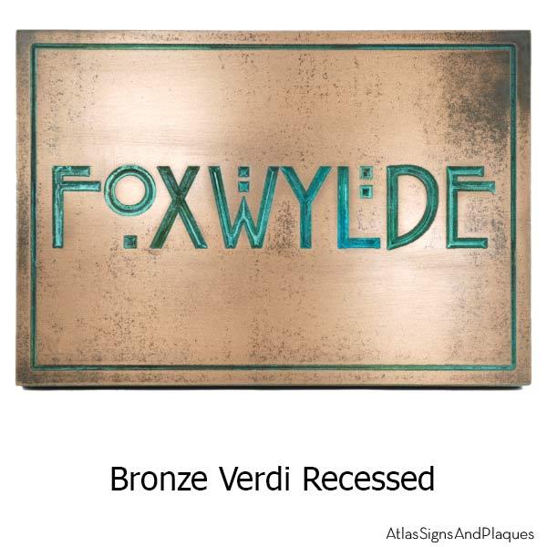 Stickley Phrase Plaque - Bronze Verdi