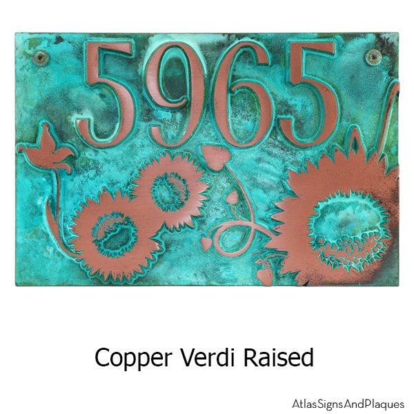 Sunny Sunflower Address Plaque - Copper Verdi With Optional T-30 Screws