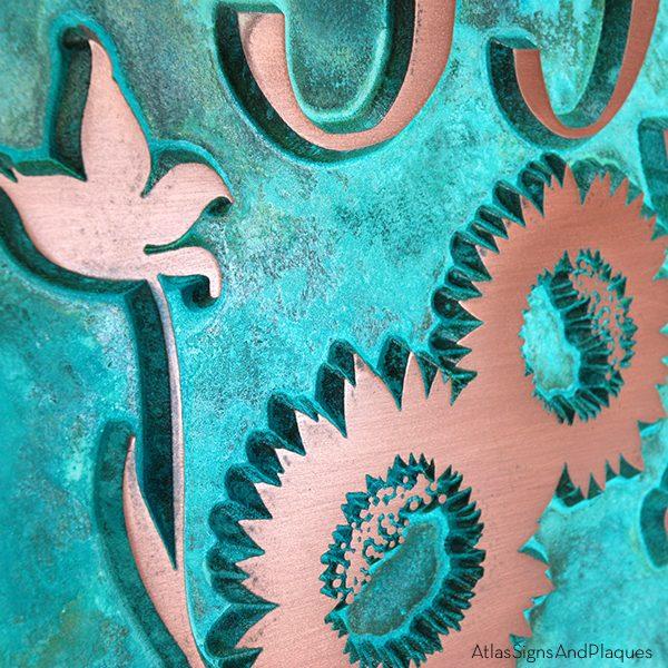 Sunny Sunflower Address Plaque - Copper Verdi Detail