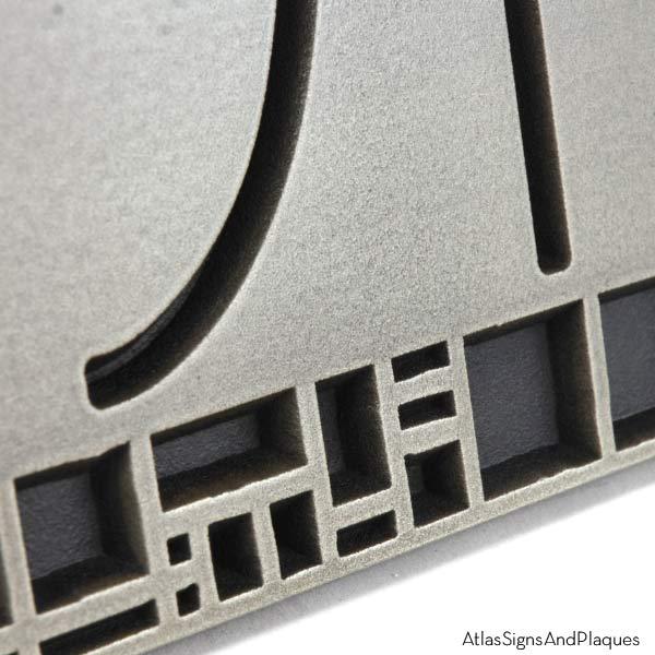 The Batchelder Tile Address Plaque - Silver Nickel Detail