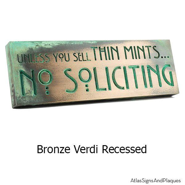 Thin Mints No Soliciting Sign - Bronze Verdi