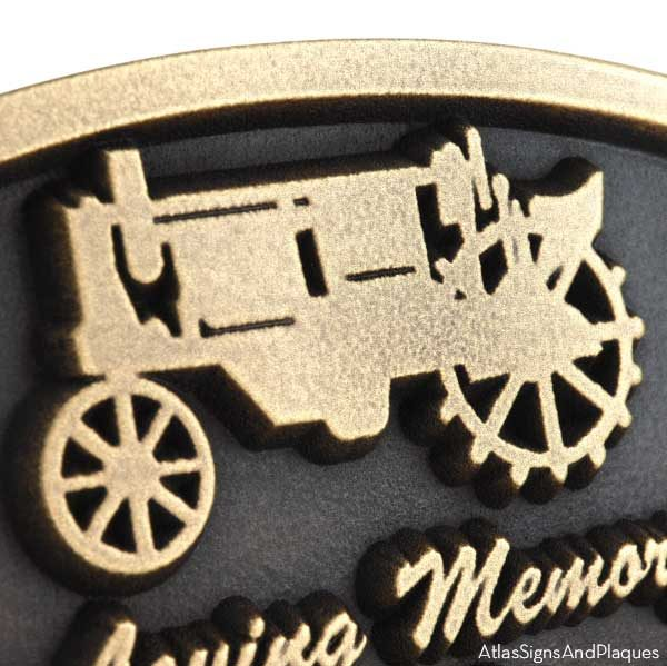 Tractor Memorial Plaque - Brass Detail