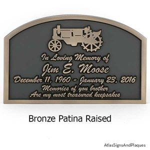 Tractor Memorial Plaque shown in Bronze