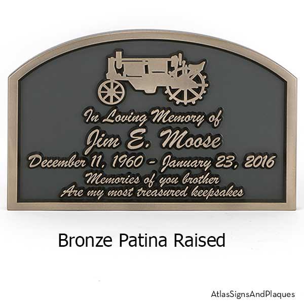 Tractor Memorial Plaque shown in Bronze