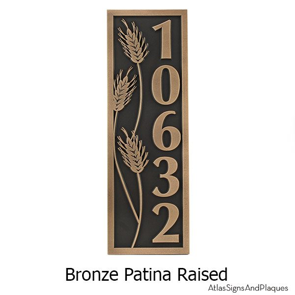 Wheat Motif Vertical Address Plaque - Bronze