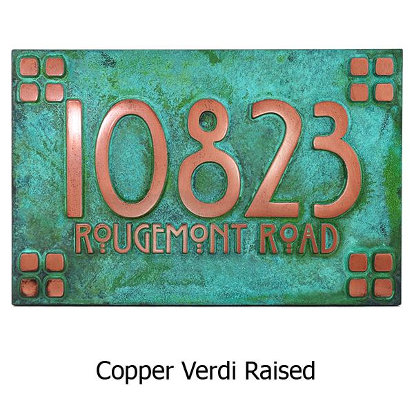 Willow Craftsman Address Plaque - Copper Verdi