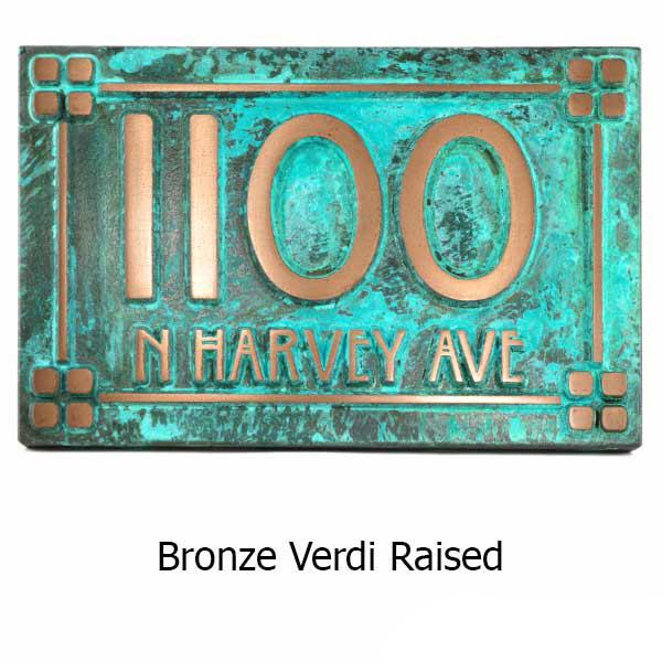 Willow Craftsman Address Plaque - Bronze Verdi