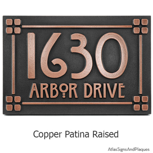 Willow Craftsman Address Plaque - Copper