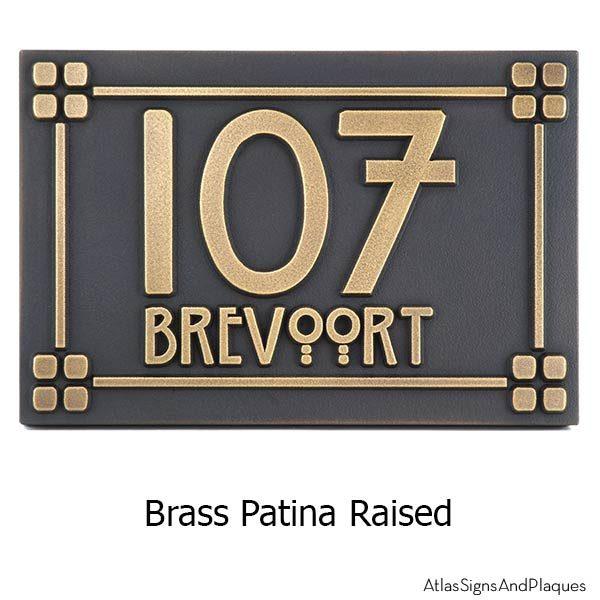 Willow Craftsman Address Plaque - Brass