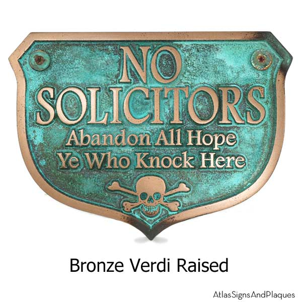 Abandon Hope Solicitors - Bronze Verdi with Optional T30 Screws