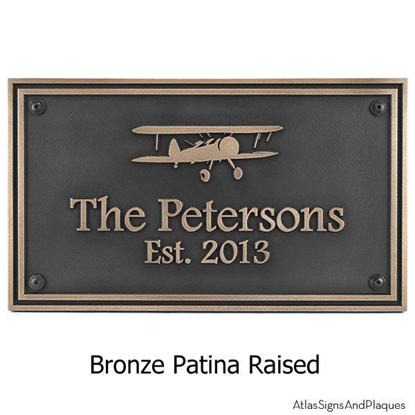 Airpark Airplane Plaque - Bronze