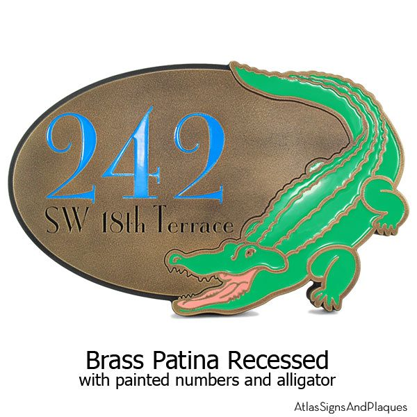 Alligator Address Plaque - Brass with Paint