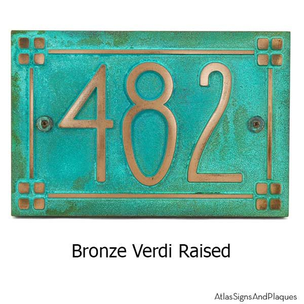 American Craftsman Address Plaque - Bronze Verdi