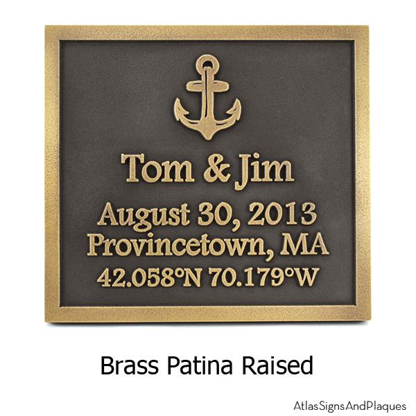 Anchors Away Wedding Plaque -Brass