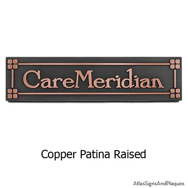 Arts and Crafts Era Nameplate Plaque - Copper