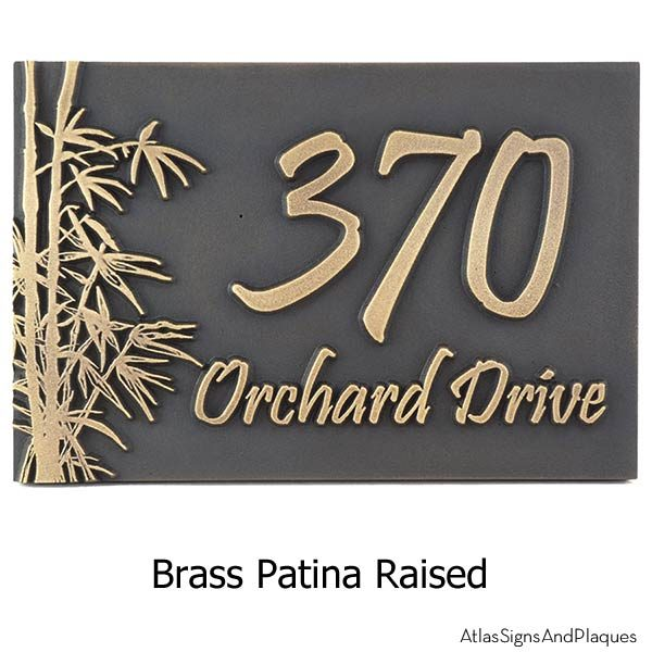 Bamboo Address Plaque - Brass