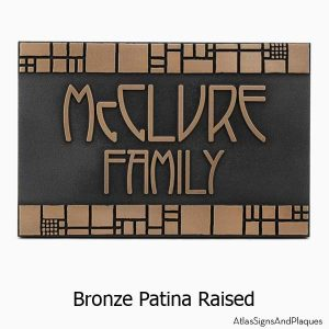 The Batchelder Tile Address Plaque - Bronze