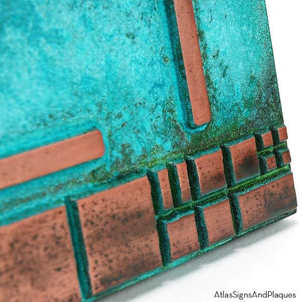 The Batchelder Tile Address Plaque - Copper Verdi Detail