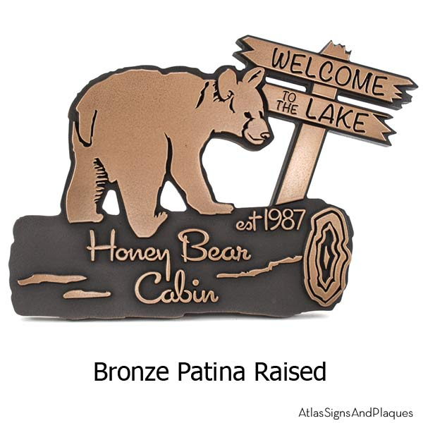 Bear Cub Cottage Plaque - Bronze