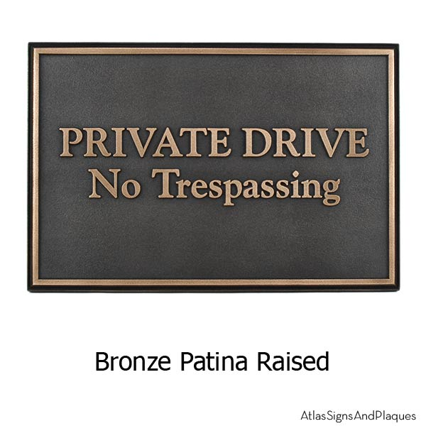 Beveled Edge Private Drive Security Sign - Bronze