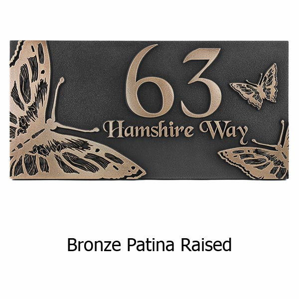 Butterfly Address Plaque - Bronze