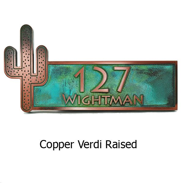 Cactus Name Plaque - Copper Verdi