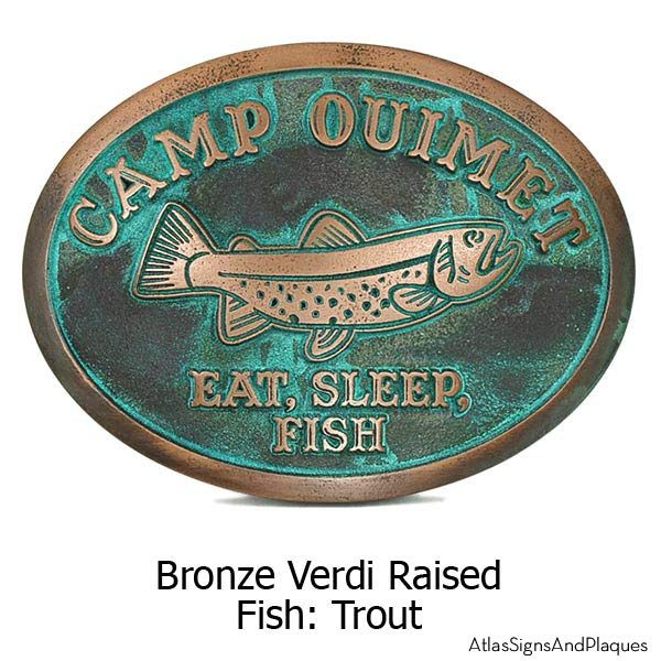 Camp Crappie Plaque - Bronze Verdi Shown with Trout