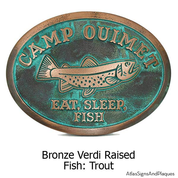 Camp Crappie Plaque - Bronze Verdi Shown with Trout