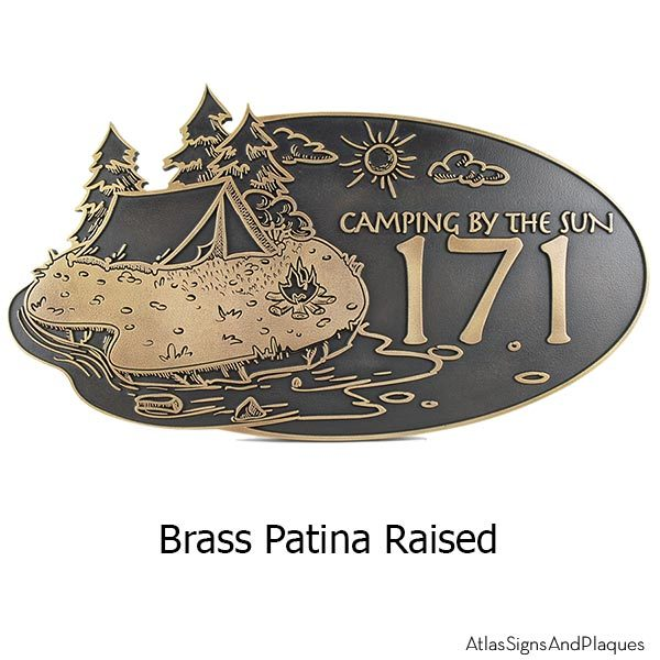 Camping Address Plaque - Brass