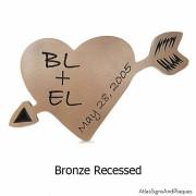 Carved Heart Plaque - Bronze
