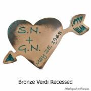 Carved Heart Plaque - Bronze Verdi