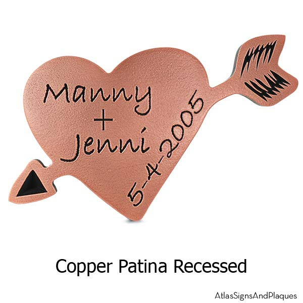 Carved Heart Plaque - Copper