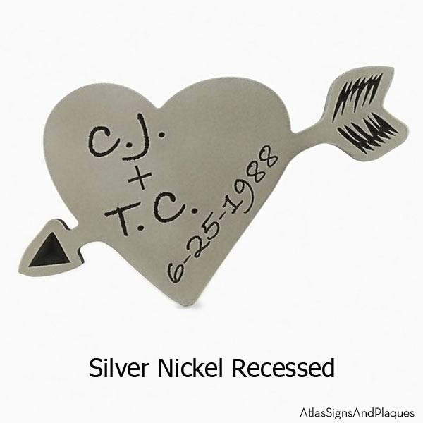Carved Heart Plaque - Silver Nickel