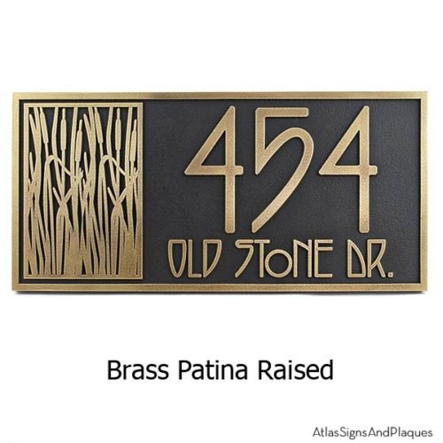 Cattail Craftsman House Numbers - Brass