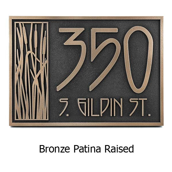 Cattail Craftsman House Numbers - Bronze